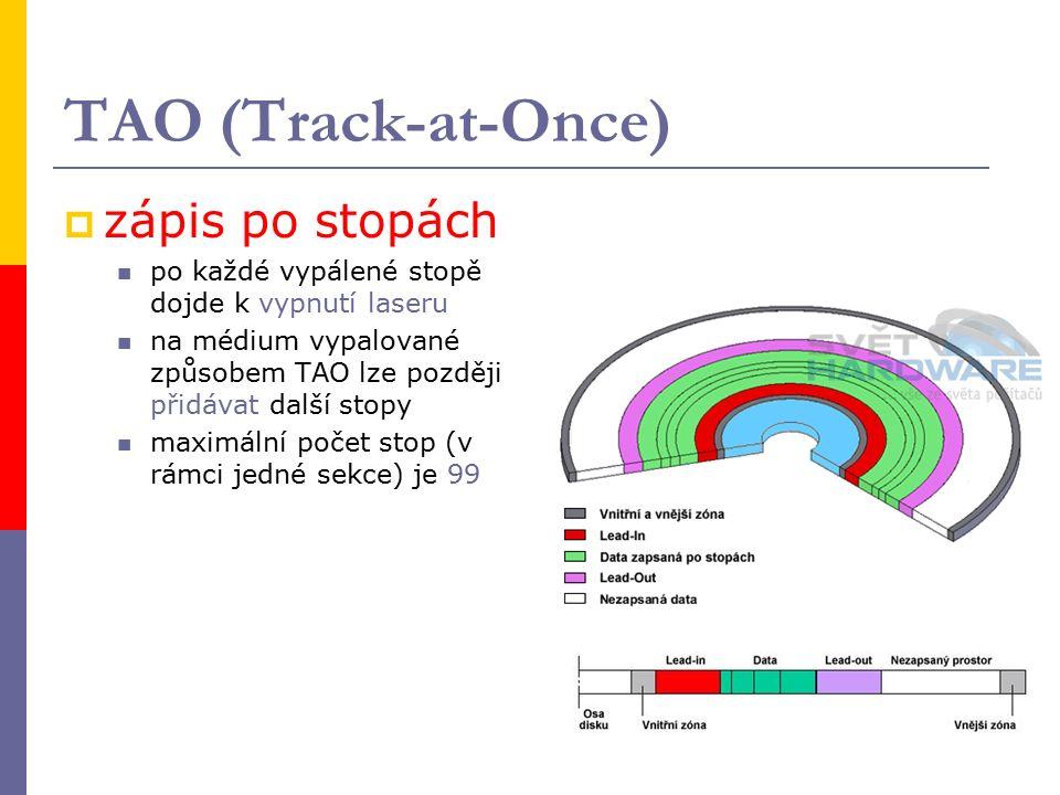 TAO (Track-at-Once)  zápis po stopách po každé vypálené stopě dojde k vypnutí laseru na médium vypalované způsobem TAO lze později přidávat další stopy maximální počet stop (v rámci jedné sekce) je 99