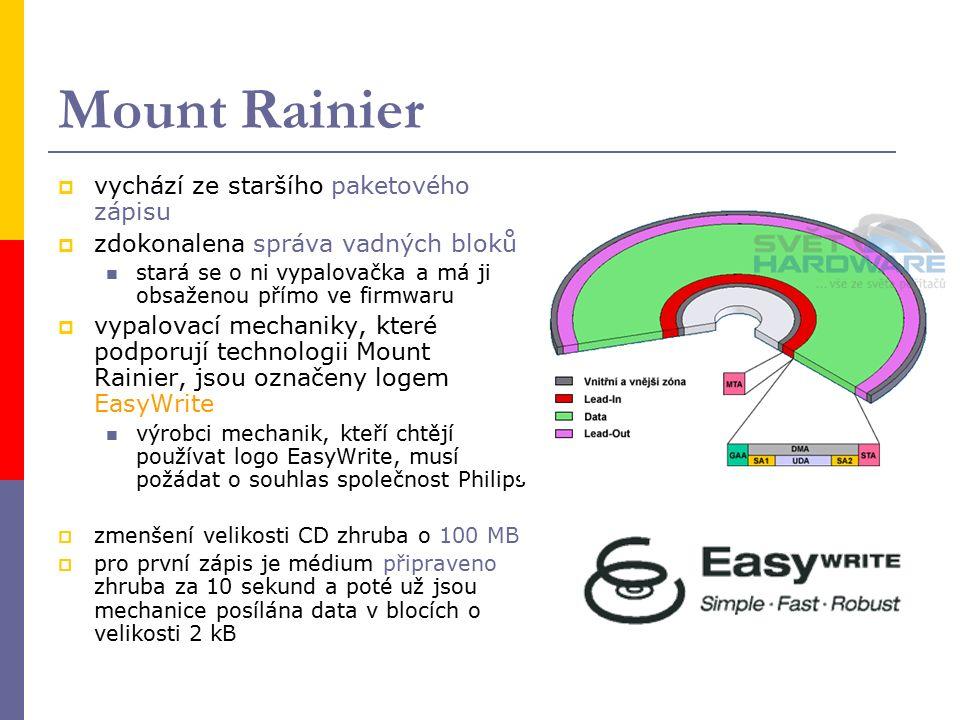 Mount Rainier  vychází ze staršího paketového zápisu  zdokonalena správa vadných bloků stará se o ni vypalovačka a má ji obsaženou přímo ve firmwaru  vypalovací mechaniky, které podporují technologii Mount Rainier, jsou označeny logem EasyWrite výrobci mechanik, kteří chtějí používat logo EasyWrite, musí požádat o souhlas společnost Philips  zmenšení velikosti CD zhruba o 100 MB  pro první zápis je médium připraveno zhruba za 10 sekund a poté už jsou mechanice posílána data v blocích o velikosti 2 kB