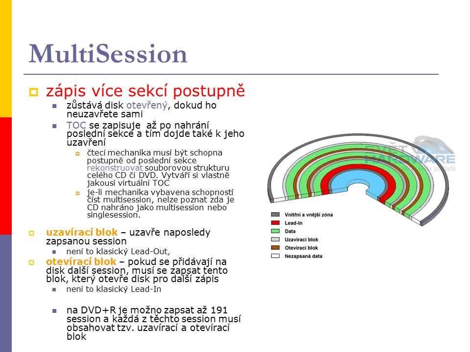 MultiSession  zápis více sekcí postupně zůstává disk otevřený, dokud ho neuzavřete sami TOC se zapisuje až po nahrání poslední sekce a tím dojde také k jeho uzavření  čtecí mechanika musí být schopna postupně od poslední sekce rekonstruovat souborovou strukturu celého CD či DVD.