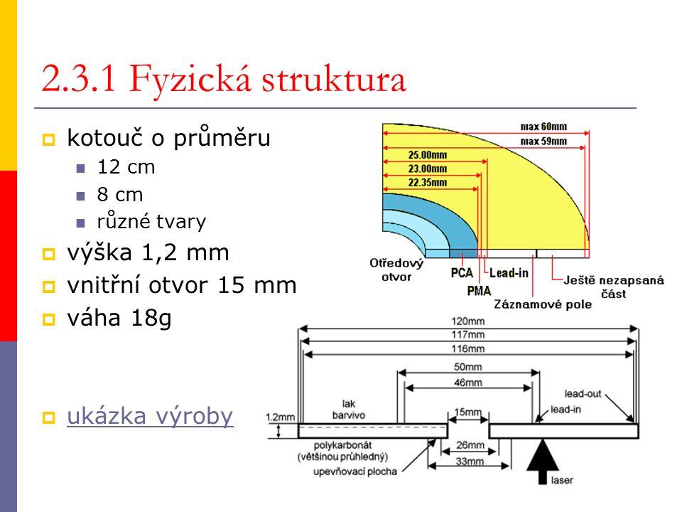 2.3.1 Fyzická struktura  kotouč o průměru 12 cm 8 cm různé tvary  výška 1,2 mm  vnitřní otvor 15 mm  váha 18g  ukázka výroby ukázka výroby