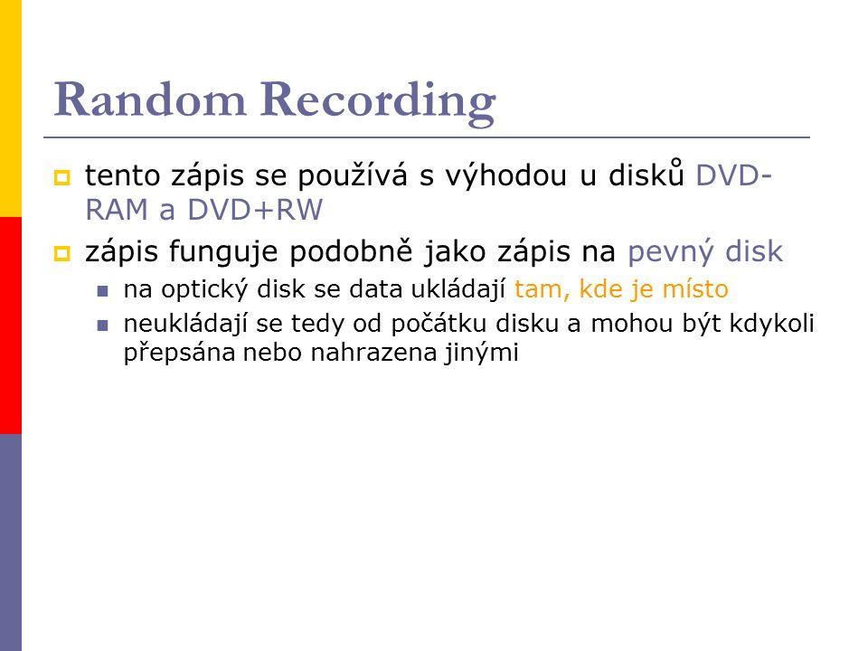 Random Recording  tento zápis se používá s výhodou u disků DVD- RAM a DVD+RW  zápis funguje podobně jako zápis na pevný disk na optický disk se data ukládají tam, kde je místo neukládají se tedy od počátku disku a mohou být kdykoli přepsána nebo nahrazena jinými