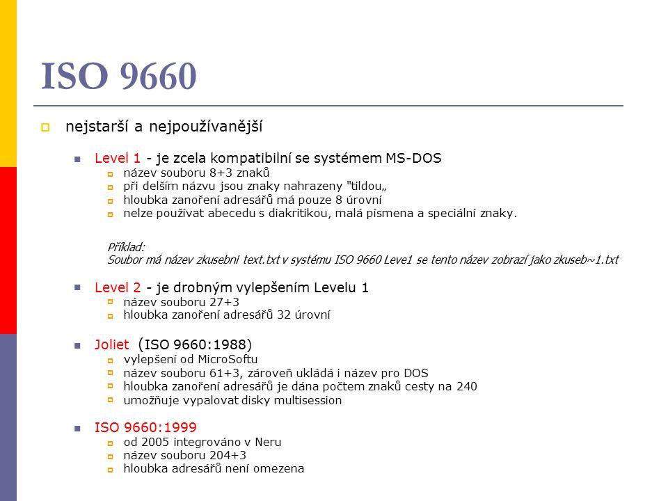 """ISO 9660  nejstarší a nejpoužívanější Level 1 - je zcela kompatibilní se systémem MS-DOS  název souboru 8+3 znaků  při delším názvu jsou znaky nahrazeny tildou""""  hloubka zanoření adresářů má pouze 8 úrovní  nelze používat abecedu s diakritikou, malá písmena a speciální znaky."""