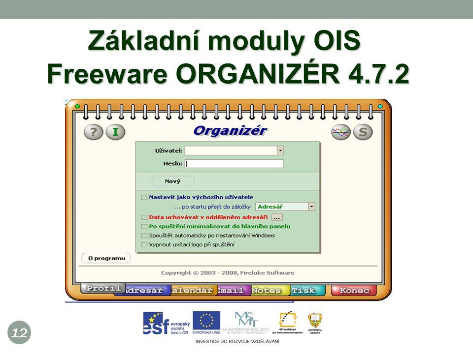 12 Základní moduly OIS Freeware ORGANIZÉR 4.7.2