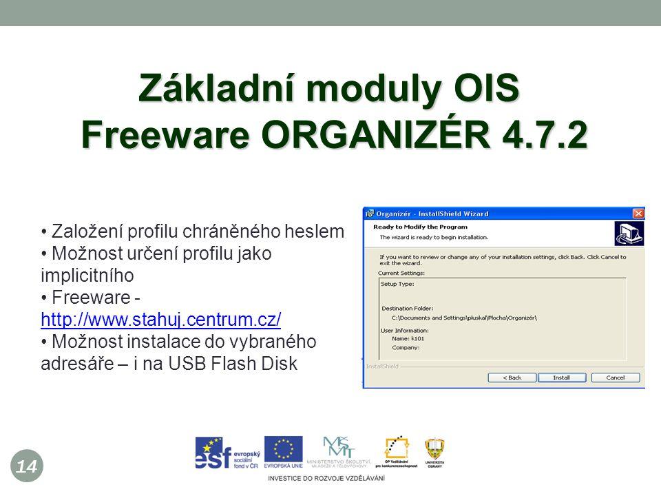 14 Základní moduly OIS Freeware ORGANIZÉR 4.7.2 Založení profilu chráněného heslem Možnost určení profilu jako implicitního Freeware - http://www.stahuj.centrum.cz/ http://www.stahuj.centrum.cz/ Možnost instalace do vybraného adresáře – i na USB Flash Disk