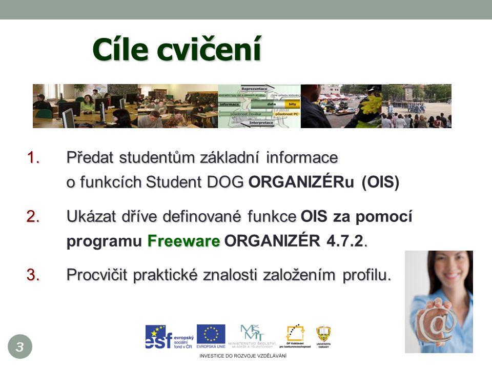 3 1.Předat studentům základní informace o funkcích Student DOG 1.Předat studentům základní informace o funkcích Student DOG ORGANIZÉRu (OIS) 2.Ukázat dříve definované funkce Freeware.