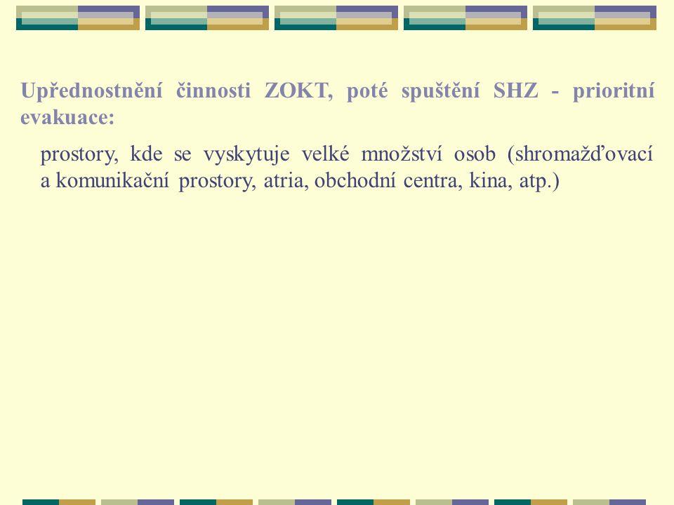 Upřednostnění činnosti ZOKT, poté spuštění SHZ - prioritní evakuace: prostory, kde se vyskytuje velké množství osob (shromažďovací a komunikační prostory, atria, obchodní centra, kina, atp.)