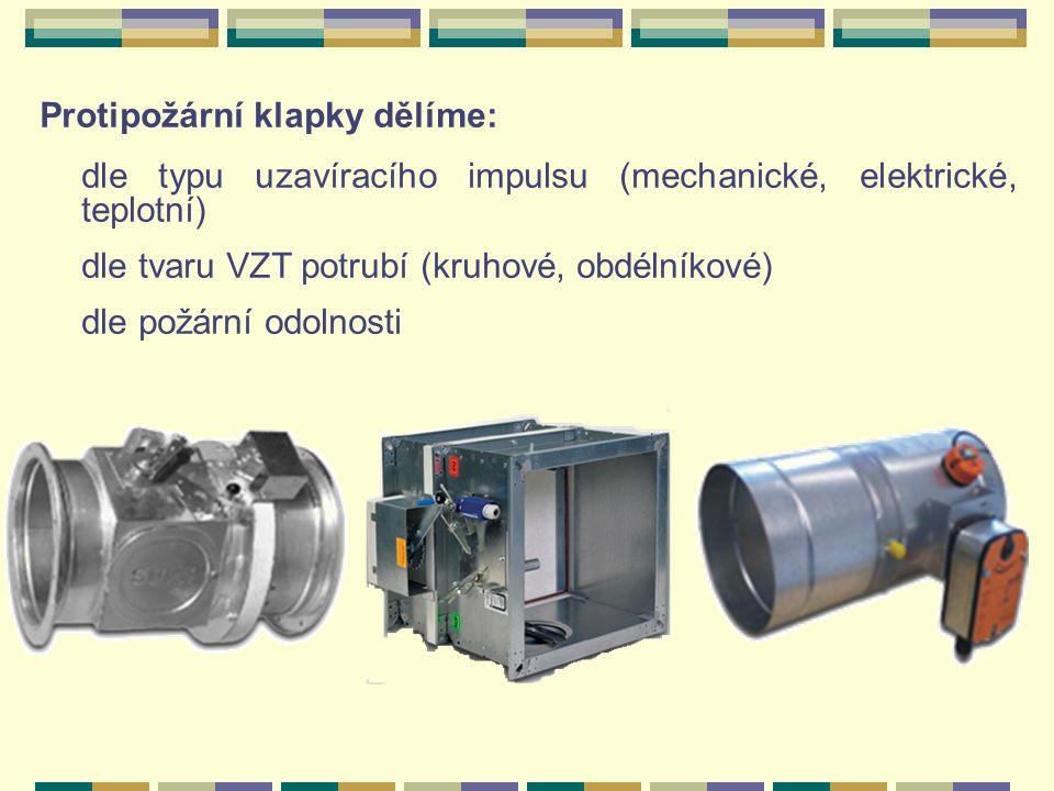 Protipožární klapky dělíme: dle typu uzavíracího impulsu (mechanické, elektrické, teplotní) dle tvaru VZT potrubí (kruhové, obdélníkové) dle požární odolnosti
