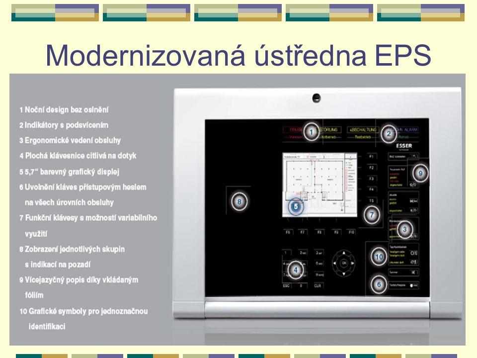 Doplňující zařízení EPS k nejrozšířenějším doplňujícím zařízením patří: zařízení dálkového přenosu (ZDP) - zajišťuje přenesení základních informací o stavu EPS na předem určené místo (nejčastěji ohlašovna požáru HZS) pult centralizované ochrany (PCO) - zobrazuje stav jednotlivých střežených objektů - minimálně dva stavy: požár a porucha.
