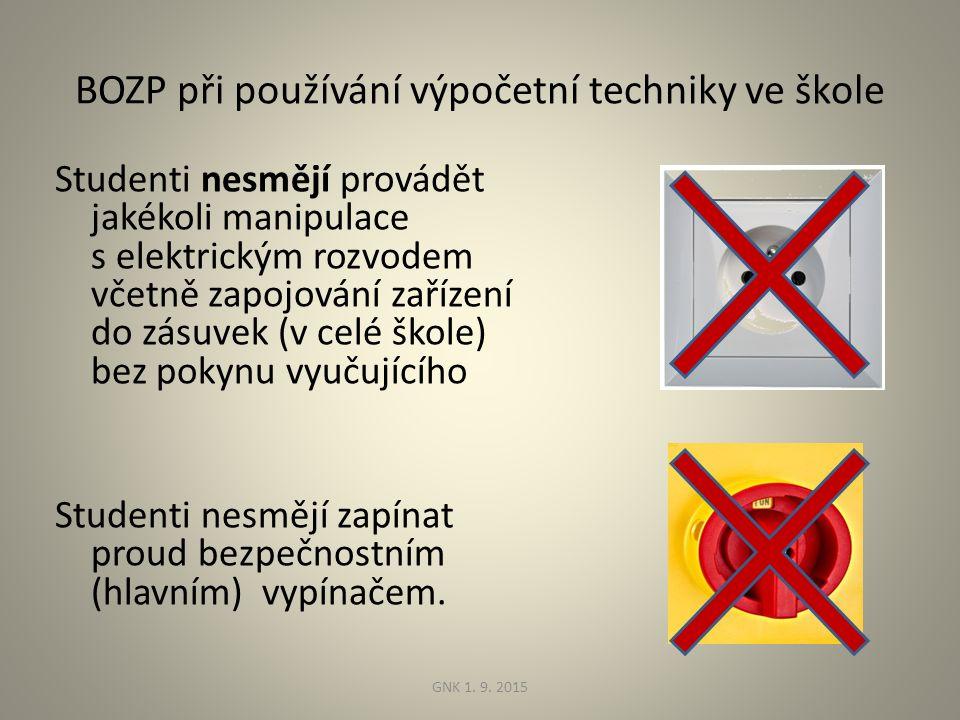 BOZP při používání výpočetní techniky ve škole Studenti nesmějí provádět jakékoli manipulace s elektrickým rozvodem včetně zapojování zařízení do zásuvek (v celé škole) bez pokynu vyučujícího Studenti nesmějí zapínat proud bezpečnostním (hlavním) vypínačem.
