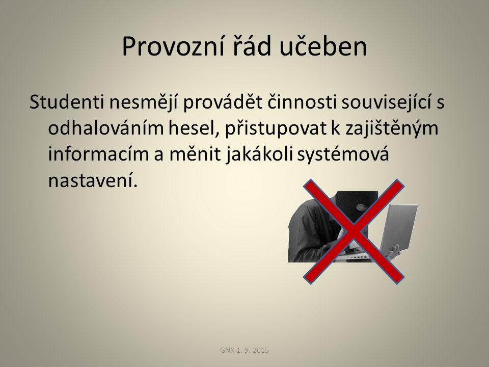 Provozní řád učeben Studenti nesmějí provádět činnosti související s odhalováním hesel, přistupovat k zajištěným informacím a měnit jakákoli systémová nastavení.