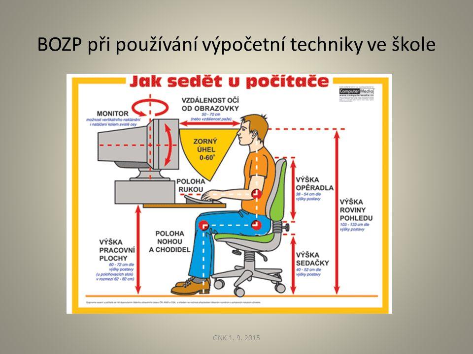 BOZP při používání výpočetní techniky ve škole GNK 1. 9. 2015
