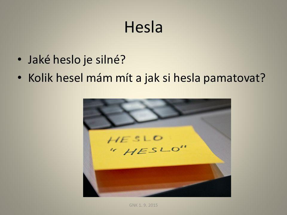 Hesla Jaké heslo je silné Kolik hesel mám mít a jak si hesla pamatovat GNK 1. 9. 2015