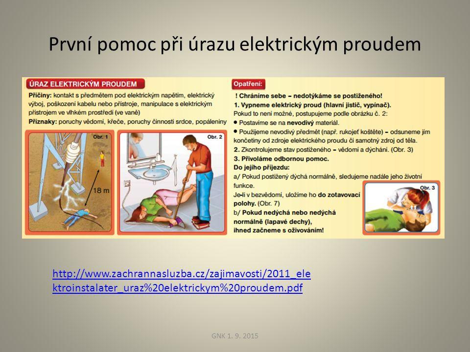 První pomoc při úrazu elektrickým proudem http://www.zachrannasluzba.cz/zajimavosti/2011_ele ktroinstalater_uraz%20elektrickym%20proudem.pdf GNK 1.