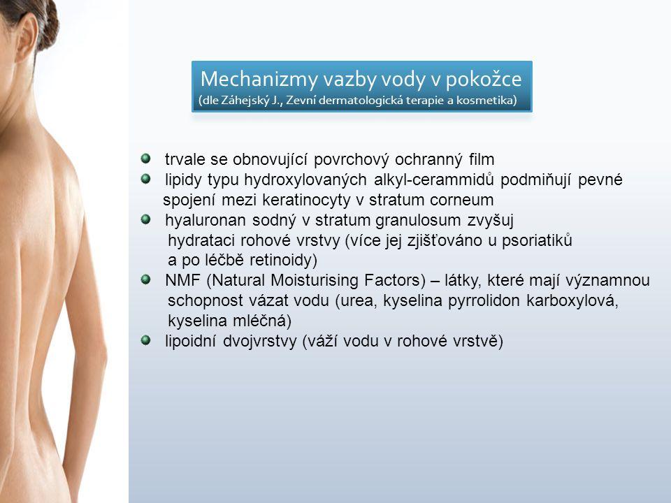 trvale se obnovující povrchový ochranný film lipidy typu hydroxylovaných alkyl-cerammidů podmiňují pevné spojení mezi keratinocyty v stratum corneum hyaluronan sodný v stratum granulosum zvyšuj hydrataci rohové vrstvy (více jej zjišťováno u psoriatiků a po léčbě retinoidy) NMF (Natural Moisturising Factors) – látky, které mají významnou schopnost vázat vodu (urea, kyselina pyrrolidon karboxylová, kyselina mléčná) lipoidní dvojvrstvy (váží vodu v rohové vrstvě)