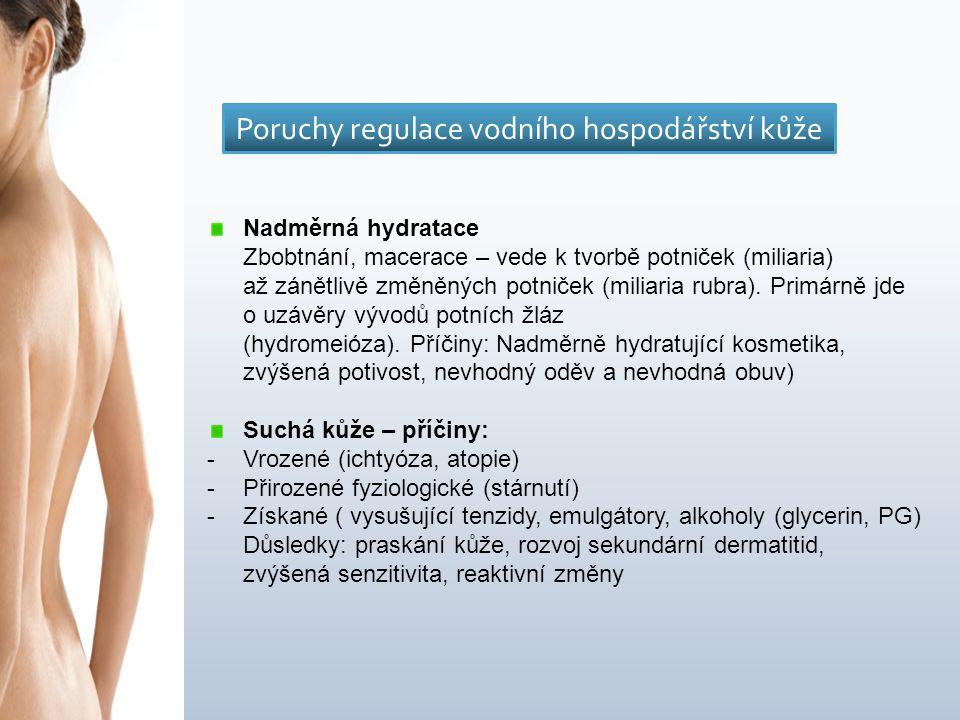 Nadměrná hydratace Zbobtnání, macerace – vede k tvorbě potniček (miliaria) až zánětlivě změněných potniček (miliaria rubra).