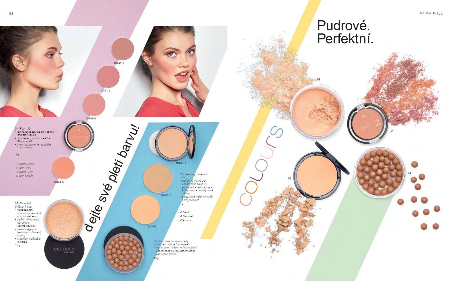 6464 Ma Ke-UP | 65 -1 Sand -2 Caramel -3 Apricot -1 Warm Peach -2 Cold Berry -4 Warm Berry -5 Cold Apricot 01 | Pudr růž jemná lehká textura pro vitální a přirozený vzhled s obsahem ryzích minerálů a Phycocorail ® s mikroskopickými matujícími komponenty 4 g Pudrové.