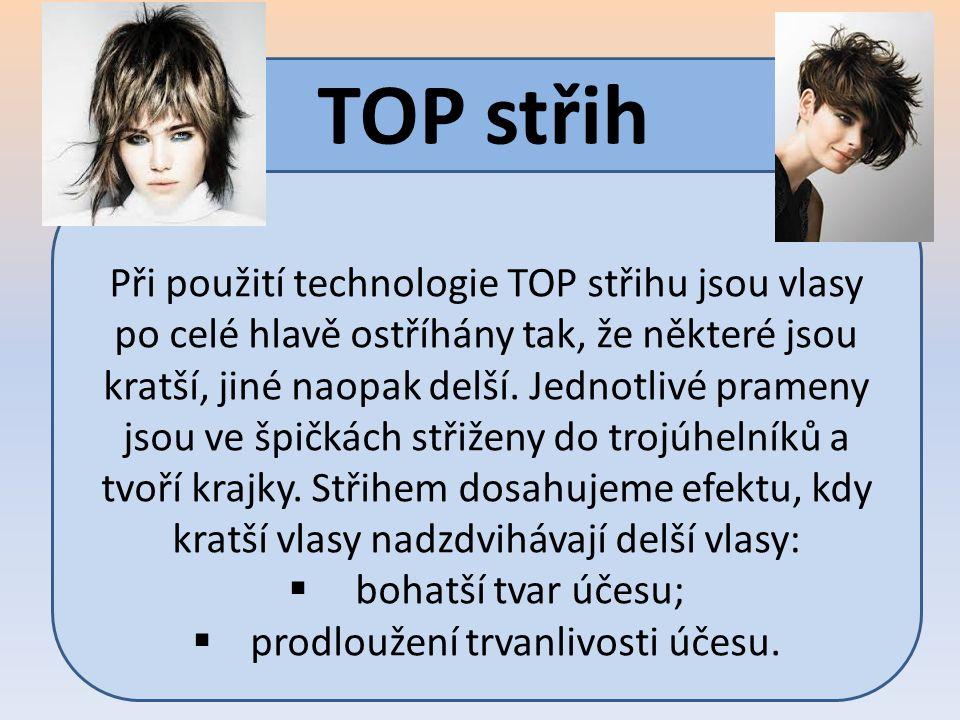 TOP střih Při použití technologie TOP střihu jsou vlasy po celé hlavě ostříhány tak, že některé jsou kratší, jiné naopak delší. Jednotlivé prameny jso