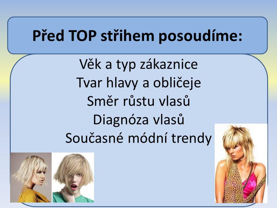 Věk a typ zákaznice Tvar hlavy a obličeje Směr růstu vlasů Diagnóza vlasů Současné módní trendy Před TOP střihem posoudíme: