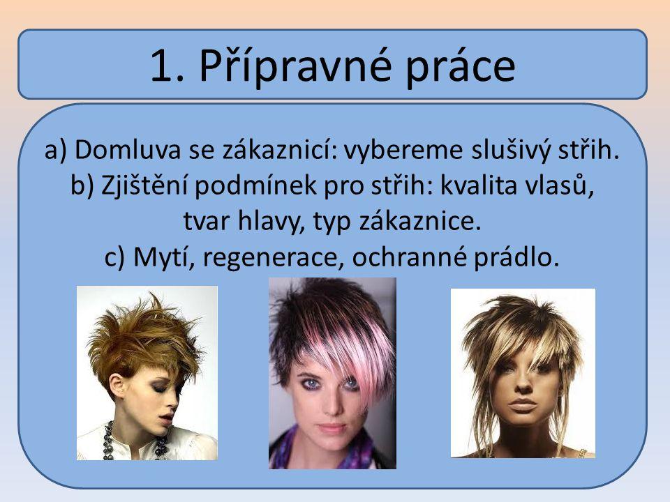 1. Přípravné práce a) Domluva se zákaznicí: vybereme slušivý střih. b) Zjištění podmínek pro střih: kvalita vlasů, tvar hlavy, typ zákaznice. c) Mytí,