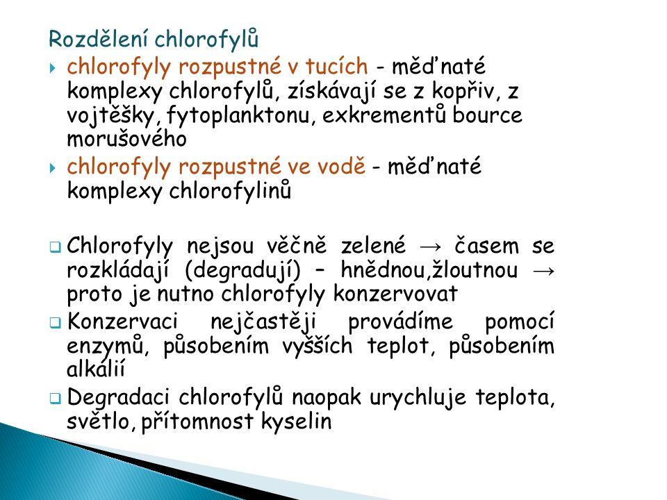 Rozdělení chlorofylů  chlorofyly rozpustné v tucích - měďnaté komplexy chlorofylů, získávají se z kopřiv, z vojtěšky, fytoplanktonu, exkrementů bource morušového  chlorofyly rozpustné ve vodě - měďnaté komplexy chlorofylinů  Chlorofyly nejsou věčně zelené → časem se rozkládají (degradují) – hnědnou,žloutnou → proto je nutno chlorofyly konzervovat  Konzervaci nejčastěji provádíme pomocí enzymů, působením vyšších teplot, působením alkálií  Degradaci chlorofylů naopak urychluje teplota, světlo, přítomnost kyselin