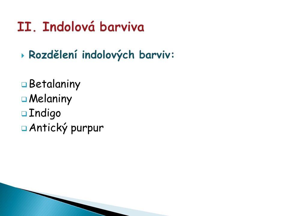  Rozdělení indolových barviv:  Betalaniny  Melaniny  Indigo  Antický purpur