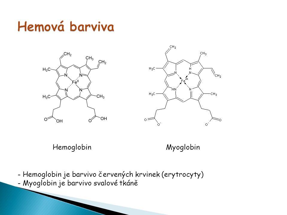  naváže-li se na hemové barvivo kyslík vzniká oxyhemoglobin nebo oxymyoglobin  naváže-li se na hemové barvivo CO (jedovatý oxid uhelnatý) vzniká karboxyhemoglobin nebo karboxymyoglobin  vazba CO na hemová barviva je 130x silnější než vazba s kyslíkem → proto dochází při požárech, kde je velká koncentrace CO a nízká koncentrace kyslíku, k udušení  Výskyt hemových barviv: hlavní pigment živočichů - hemoglobin  Použití hemových barviv : výroba speciálních masných výrobků (jaternice, tlačenka) → používá se přídavek sterilně odebrané vepřové krve; ve většině zemí není povoleno používat hemová barviva (u nás ano)  Význam hemových barviv : hemoglobin- přenašeč O 2 a CO 2, myoglobin- zásobárna O 2