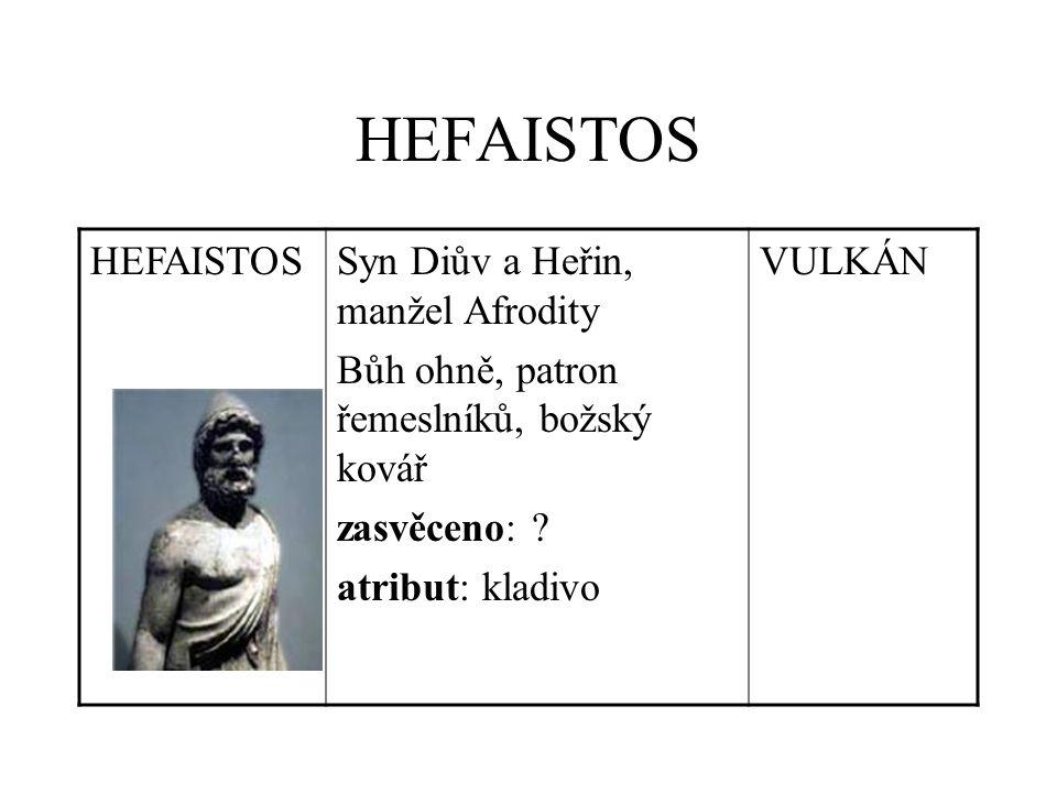 HEFAISTOS Syn Diův a Heřin, manžel Afrodity Bůh ohně, patron řemeslníků, božský kovář zasvěceno: .