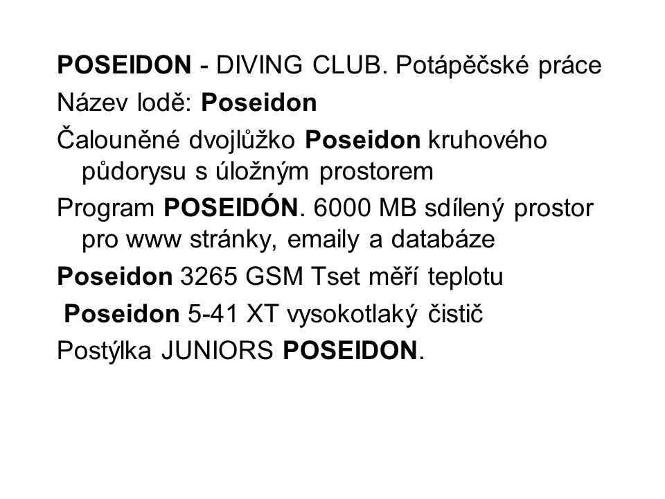 POSEIDON - DIVING CLUB.