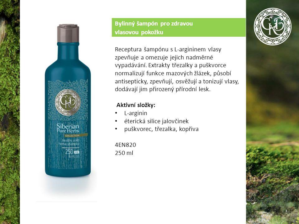 Bylinný šampón pro zdravou vlasovou pokožku Receptura šampónu s L-argininem vlasy zpevňuje a omezuje jejich nadměrné vypadávání.
