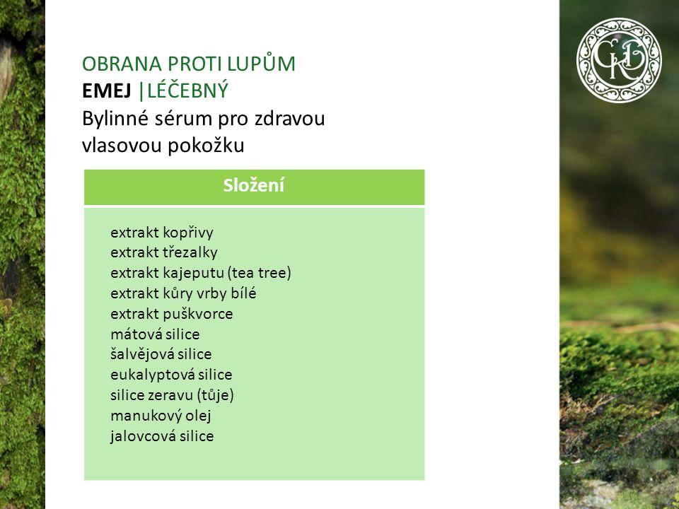 OBRANA PROTI LUPŮM EMEJ |LÉČEBNÝ Bylinné sérum pro zdravou vlasovou pokožku Složení extrakt kopřivy extrakt třezalky extrakt kajeputu (tea tree) extrakt kůry vrby bílé extrakt puškvorce mátová silice šalvějová silice eukalyptová silice silice zeravu (tůje) manukový olej jalovcová silice