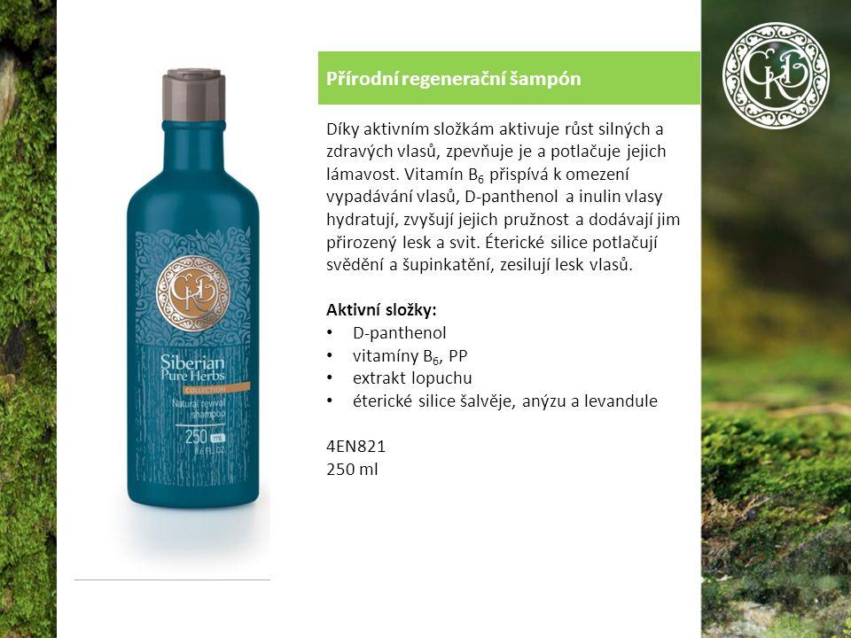 Přírodní regenerační šampón Díky aktivním složkám aktivuje růst silných a zdravých vlasů, zpevňuje je a potlačuje jejich lámavost.