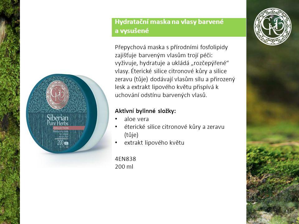 """Hydratační maska na vlasy barvené a vysušené Přepychová maska s přírodními fosfolipidy zajišťuje barveným vlasům trojí péči: vyživuje, hydratuje a ukládá """"rozčepýřené vlasy."""