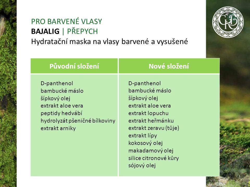 Původní složeníNové složení D-panthenol bambucké máslo šípkový olej extrakt aloe vera peptidy hedvábí hydrolyzát pšeničné bílkoviny extrakt arniky D-panthenol bambucké máslo šípkový olej extrakt aloe vera extrakt lopuchu extrakt heřmánku extrakt zeravu (tůje) extrakt lípy kokosový olej makadamový olej silice citronové kůry sójový olej PRO BARVENÉ VLASY BAJALIG | PŘEPYCH Hydratační maska na vlasy barvené a vysušené