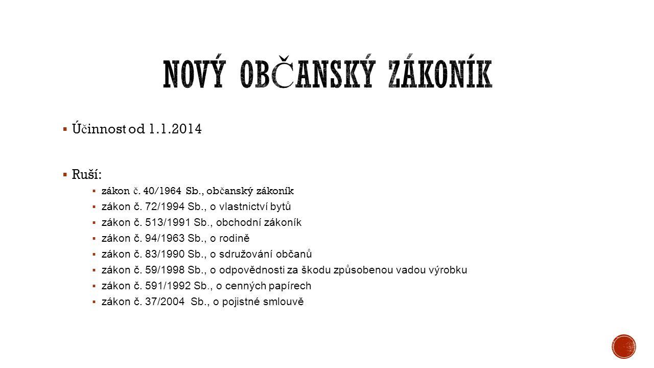  Ú č innost od 1.1.2014  Ruší:  zákon č. 40/1964 Sb., ob č anský zákoník  zákon č.