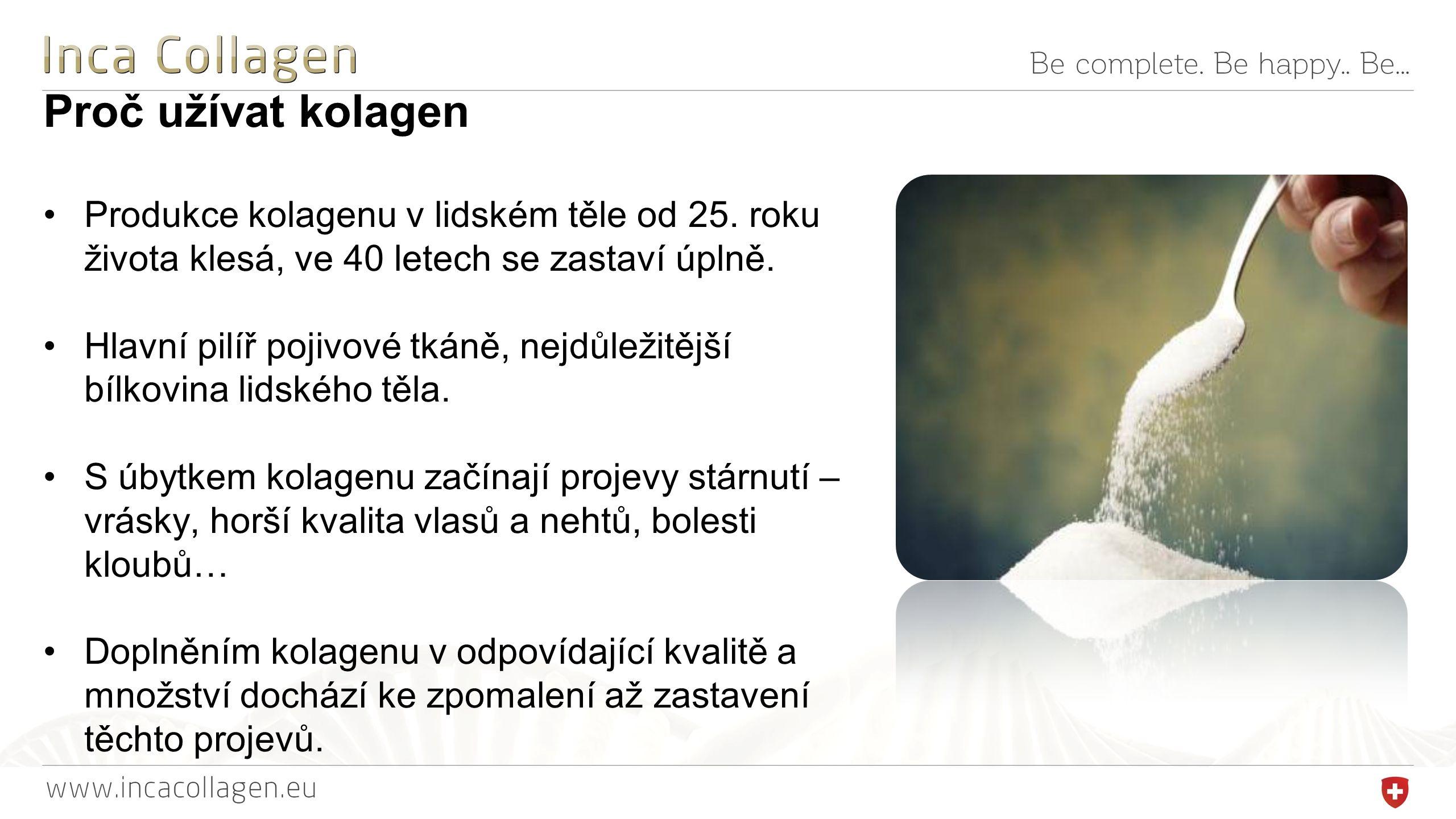 Proč užívat kolagen Produkce kolagenu v lidském těle od 25.