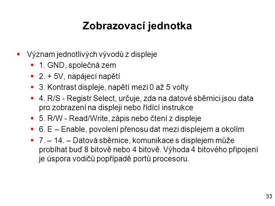 33 Zobrazovací jednotka  Význam jednotlivých vývodů z displeje  1.