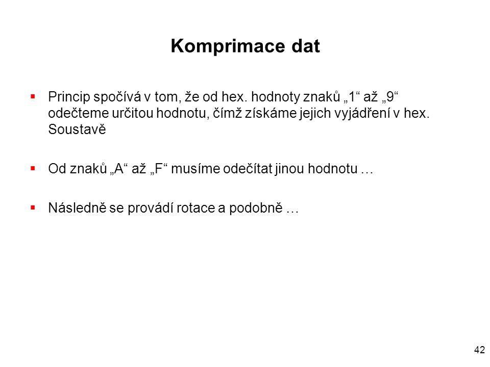 42 Komprimace dat  Princip spočívá v tom, že od hex.