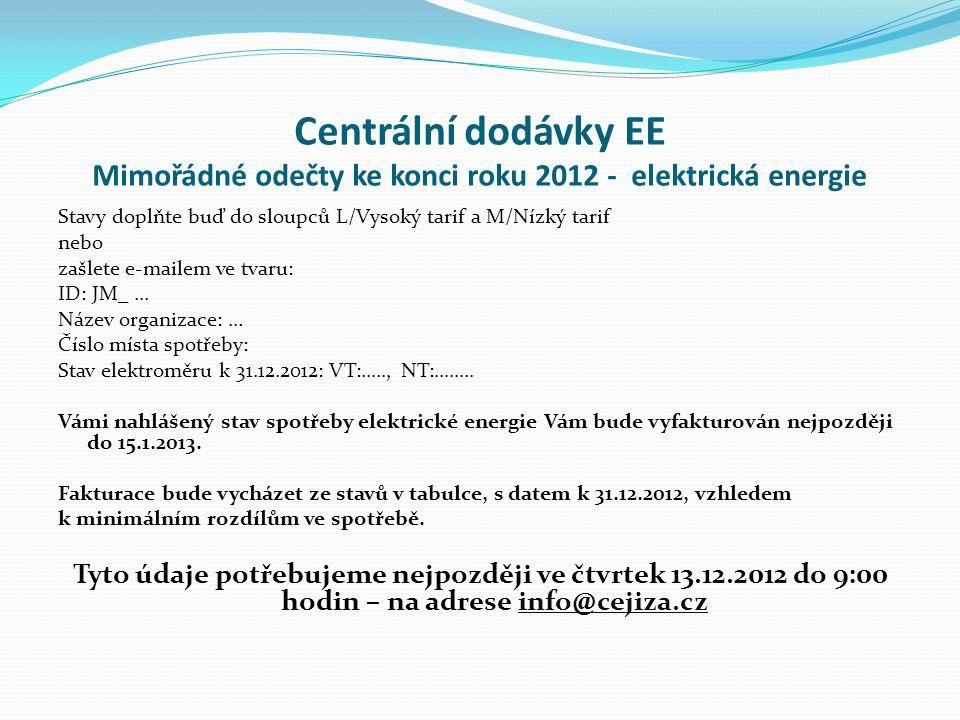 Centrální dodávky EE Mimořádné odečty ke konci roku 2012 - elektrická energie Stavy doplňte buď do sloupců L/Vysoký tarif a M/Nízký tarif nebo zašlete e-mailem ve tvaru: ID: JM_...