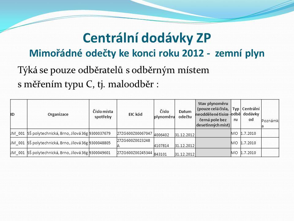 Centrální dodávky ZP Mimořádné odečty ke konci roku 2012 - zemní plyn Týká se pouze odběratelů s odběrným místem s měřením typu C, tj.