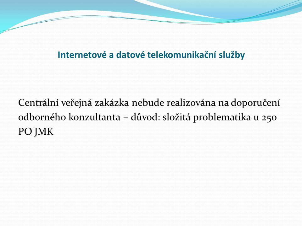 Internetové a datové telekomunikační služby Centrální veřejná zakázka nebude realizována na doporučení odborného konzultanta – důvod: složitá problematika u 250 PO JMK
