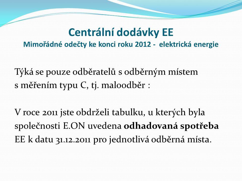 Centrální dodávky EE Mimořádné odečty ke konci roku 2012 - elektrická energie Týká se pouze odběratelů s odběrným místem s měřením typu C, tj.