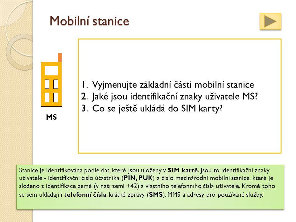 Mobilní stanice představují zařízení, která jsou přímo obsluhována koncovými uživateli. Obsahují radiovou část a část číslicového zpracování signálů.