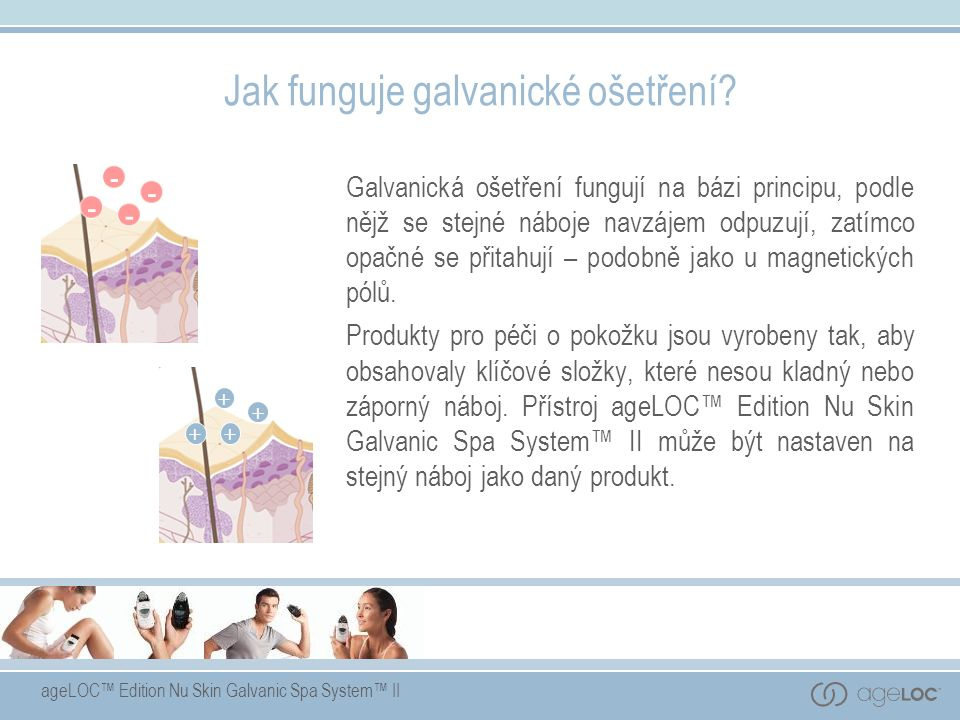 ageLOC™ Edition Nu Skin Galvanic Spa System™ II Jak funguje galvanické ošetření? Galvanická ošetření fungují na bázi principu, podle nějž se stejné ná