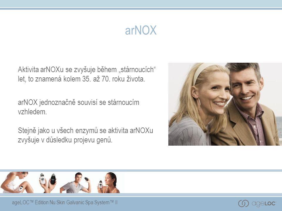 """ageLOC™ Edition Nu Skin Galvanic Spa System™ II arNOX Aktivita arNOXu se zvyšuje během """"stárnoucích"""" let, to znamená kolem 35. až 70. roku života. arN"""