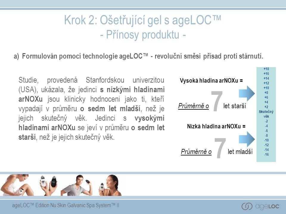 ageLOC™ Edition Nu Skin Galvanic Spa System™ II a)Formulován pomocí technologie ageLOC™ - revoluční směsi přísad proti stárnutí. Krok 2: Ošetřující ge