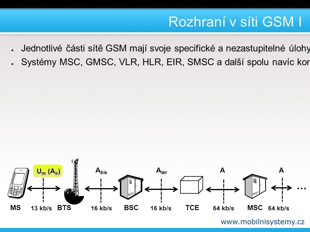 Rozhraní v síti GSM I ● Jednotlivé části sítě GSM mají svoje specifické a nezastupitelné úlohy a vzájemně jsou propojeny standardizovanými rozhraními, která jsou navržena tak, aby mohla využívat k přenosu standardní kanály PCM (mimo zcela specifického radiového rozhraní mezi MS a BTS - Um).