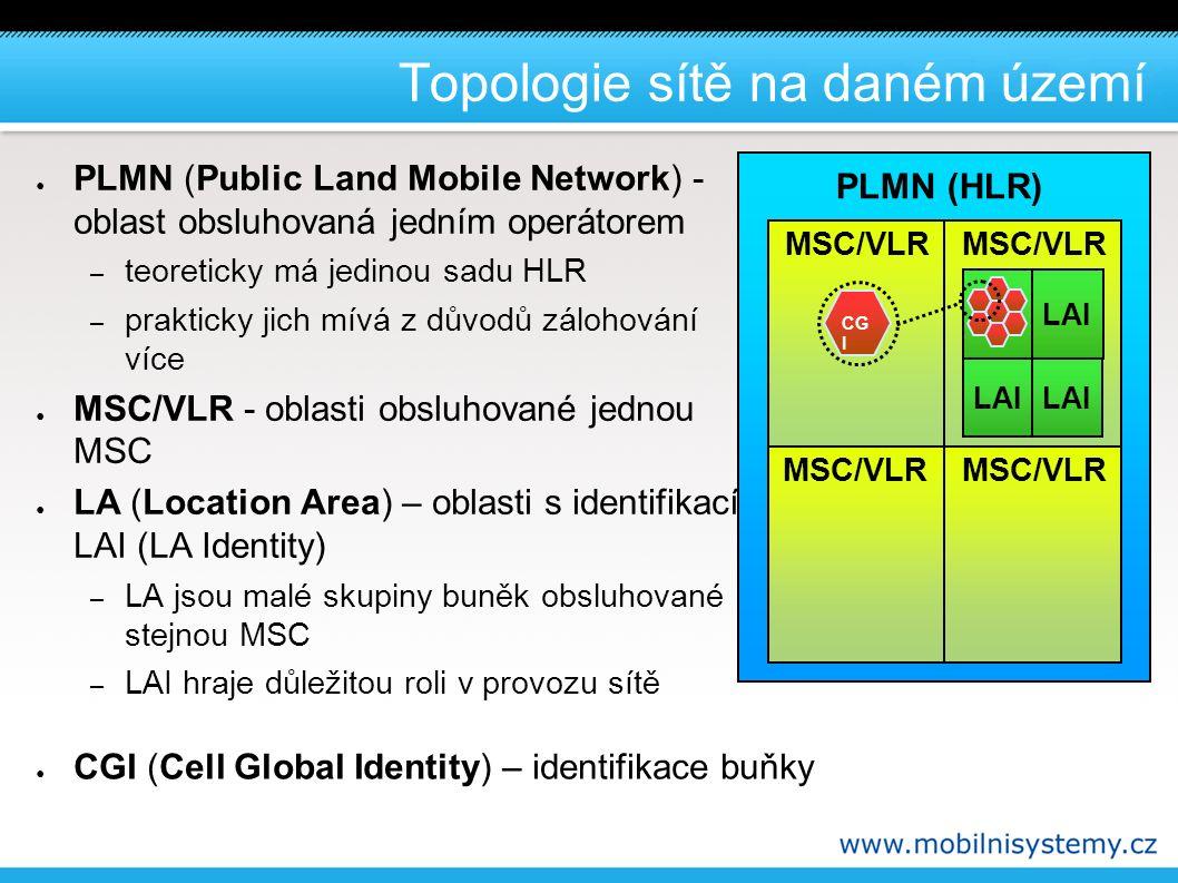 PLMN (HLR) Topologie sítě na daném území MSC/VLR LAI CG I ● PLMN (Public Land Mobile Network) - oblast obsluhovaná jedním operátorem – teoreticky má jedinou sadu HLR – prakticky jich mívá z důvodů zálohování více ● MSC/VLR - oblasti obsluhované jednou MSC ● LA (Location Area) – oblasti s identifikací LAI (LA Identity) – LA jsou malé skupiny buněk obsluhované stejnou MSC – LAI hraje důležitou roli v provozu sítě ● CGI (Cell Global Identity) – identifikace buňky