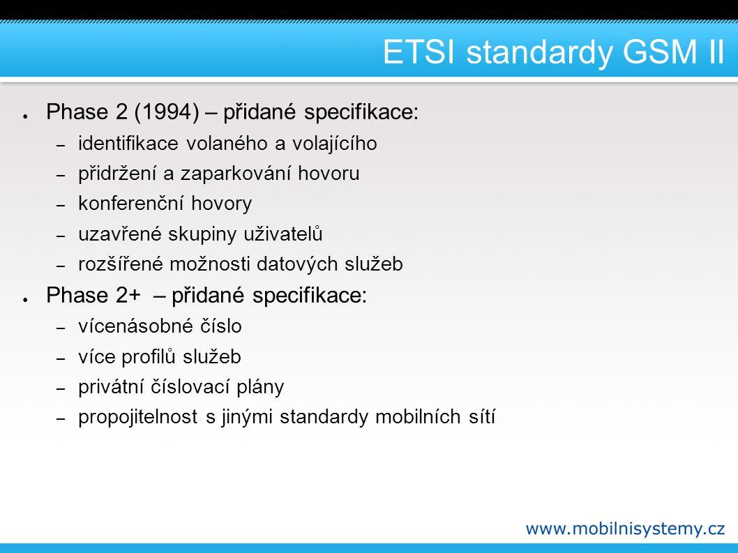 Číslování v síti GSM II – MSISDN ( Mobile Station ISDN Number ) - telefonní číslo, kterým je účastník identifikován navenek ● toto číslo vytáčíme, pokud se chceme s účastníkem spojit ● přenositelnost čísla – ztrácí smysl prefixy: ● Eurotel: 72 (601,2,6,7), T-mobile: 73 (603,4,5), Vodafone: 77 (608) – IMEI ( International Mobile Equipment Identity ) - patnáctimístné číslo jednoznačně identifikující terminál (obsahuje číslo typu i sériové číslo telefonu) ● je vypáleno v terminálu a uloženo v registru EIR ● lze pomocí něj například zablokovat ukradený telefon Pozn.: Výše uvedená čísla jsou jen výběrem těch nejdůležitějších.