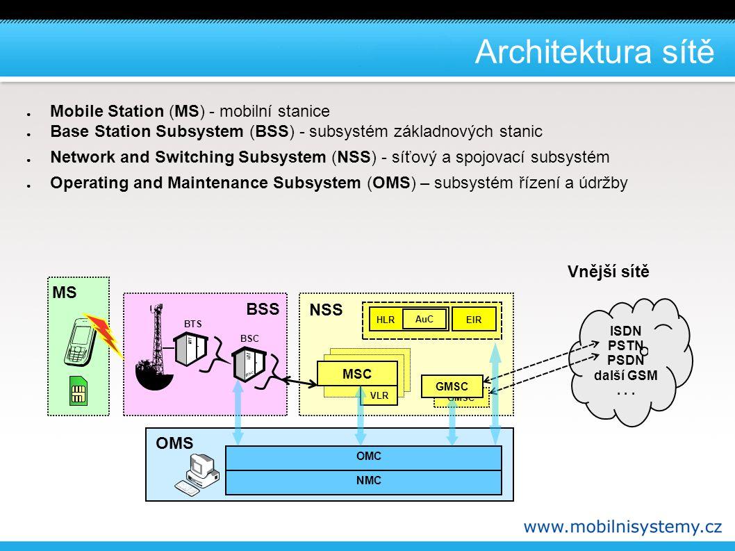 Mobile Station - MS ● MS (Mobile Station) - mobilní stanice: – MS ( Mobile Station )- vlastní telefon (terminál) ● zabezpečuje trvalé radiové spojení se systémem BSS ● zajišťuje komunikaci s účastníkem a zprostředkovává realizaci služeb ● provádí kódování a dekódování vysílaných a přijímaných informací – SIM ( Subscriber Identity Module ) – účastnický identifikační modul ● přináší nezávislost uživatele na konkrétním terminálu ● zajišťuje autentifikaci a podílí se na šifrování