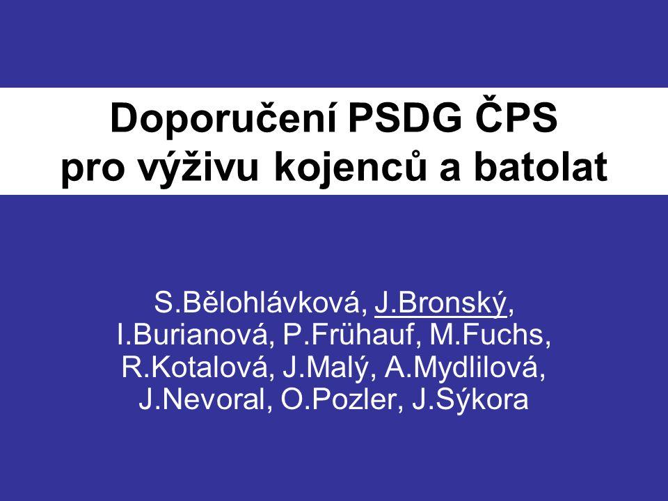 KAPITOLY 1 - Kojení 2 - Strategie zavádění nemléčných příkrmů 3 - Zavádění lepku 4 - Náhradní kojenecká mléčná výživa (kojenecké formule) 5 - Výživa novorozence s nízkou porodní hmotností po propuštění do domácí péče 6 - Prebiotika a probiotika 7 - Mikronutrienty 8 - Alergie na bílkovinu kravského mléka 9 - Dietní opatření při léčbě akutních infekčních gastroenteritid 10 - Výživa dítěte s atopickým ekzémem 11 - Alternativní výživa 12 - Poruchy příjmu potravy kojenců a batolat 13 - Výživa batolat